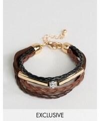 DesignB London - Lot de bracelets en cuir - Marron