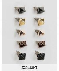 DesignB London - Lot de 5 boucles d'oreilles pyramides - Multi