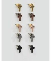 DesignB London - Lot de 5 boucles d'oreilles motif croix - Multi
