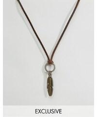 Reclaimed Vintage - Collier en cuir avec plumes - Marron