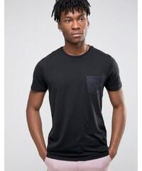 Burton Menswear - T-Shirt mit Satin-Tasche - Schwarz