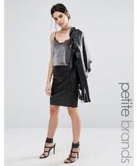 Vero Moda Petite - Jupe fourreau en similicuir - Noir