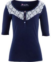 bpc bonprix collection Kurzarmshirt mit Spitze in blau für Damen von bonprix