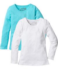 bpc bonprix collection Basic Langarmshirt (2er-Pack), Gr. 116/122-164/170 in blau für Mädchen von bonprix
