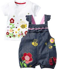 bpc bonprix collection Baby T-Shirt + Jeanslatzhose (2-tlg.) kurzer Arm in blau für Damen von bonprix