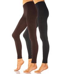 LAVANA Leggings (2er-Pack), glatt in braun für Damen von bonprix