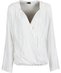 BODYFLIRT Bluse mit Kapuze langarm in weiß von bonprix