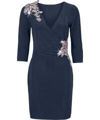 BODYFLIRT Kleid mit Wickeloptik 3/4 Arm in blau von bonprix