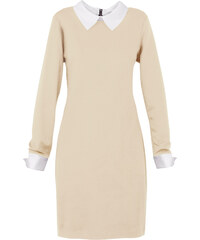 BODYFLIRT boutique Kleid langarm in beige von bonprix