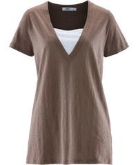 bpc bonprix collection Longshirt halber Arm in grau (V-Ausschnitt) für Damen von bonprix