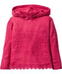 bpc bonprix collection leichter Kapuzenstrickpullver mit Spitze, Gr. 80/86-128/134 langarm in pink für Mädchen von bonprix