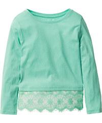 bpc bonprix collection Shirt mit Spitze, Gr. 116/122-164/170 langarm in grün für Mädchen von bonprix