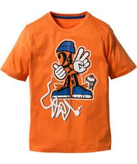 bpc bonprix collection Shirt mit Druck, Gr. 116/122-164/170 kurzer Arm in orange für Jungen von bonprix