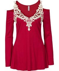 BODYFLIRT boutique Shirt mit Häkeleinsatz in rot für Damen von bonprix