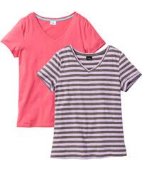 bpc bonprix collection Shirt (2er-Pack) Bio-Baumwolle kurzer Arm in pink für Damen von bonprix