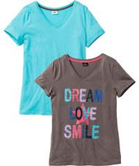 bpc bonprix collection Shirt (2er-Pack) Bio-Baumwolle kurzer Arm in blau für Damen von bonprix