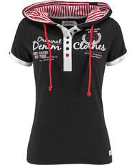 John Baner JEANSWEAR Shirt mit Kapuze, Kurzarm in schwarz für Damen von bonprix