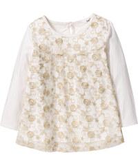 bpc bonprix collection Langarmshirt mit Spitze und Glitter, Gr. 80/86-128/134 in weiß für Mädchen von bonprix