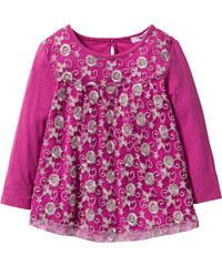 bpc bonprix collection Langarmshirt mit Spitze und Glitter, Gr. 80/86-128/134 in pink für Mädchen von bonprix