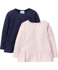 bpc bonprix collection Langarmshirt mit Volant (2er-Pack), Gr. 80/86-128/134 in blau für Mädchen von bonprix