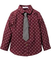 bpc bonprix collection Hemd bedruckt mit Krawatte, Gr. 80/86-128/134 langarm in rot von bonprix