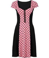 BODYFLIRT Kleid mit Punkten/Sommerkleid kurzer Arm in pink von bonprix