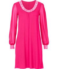 BODYFLIRT Kleid mit Zierstein-Applikation langarm in pink von bonprix