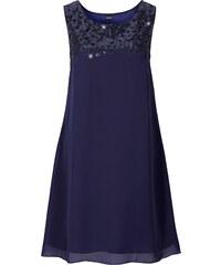 BODYFLIRT Kleid mit Paillettenapplikation ohne Ärmel in blau von bonprix