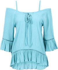 BODYFLIRT Cold-Shoulder-Bluse 3/4 Arm in blau von bonprix
