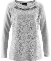 bpc selection premium Sweatshirt mit Spitze langarm in grau für Damen von bonprix