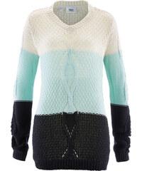 bpc bonprix collection V-Ausschnitt Pullover mit Zopfmuster und Farbverlauf langarm in weiß für Damen von bonprix
