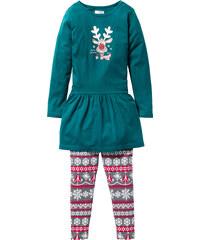 bpc bonprix collection Kleid und Leggings mit Wintermotiv (2-tlg. Set), Gr. 116-170 in petrol für Mädchen von bonprix