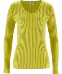 bpc bonprix collection Pullover langarm in grün (V-Ausschnitt) für Damen von bonprix