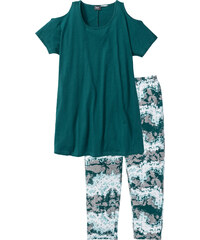 bpc bonprix collection Capri Pyjama kurzer Arm in petrol für Damen von bonprix