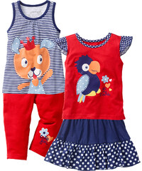 bpc bonprix collection Top + T-Shirt + Rock + 3/4 Leggings (4-tlg.) in blau für Mädchen von bonprix
