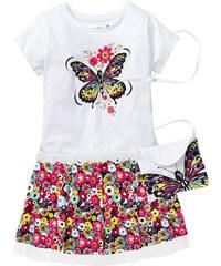 bpc bonprix collection Shirt mit Spitzenbesatz, Rock + Täschchen (3-tlg.), Gr. 116/122-164/170 kurzer Arm in weiß für Mädchen von bonprix