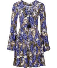 BODYFLIRT Kleid mit Trompetenärmeln langarm in blau von bonprix