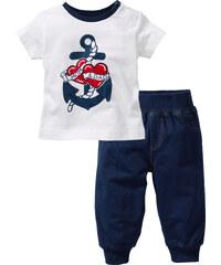 bpc bonprix collection Baby T-Shirt + Sweathose (2-tlg) Bio-Baumwolle kurzer Arm in blau für Herren von bonprix