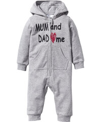 bpc bonprix collection Baby Kapuzen-Sweatoverall Bio-Baumwolle in grau von bonprix