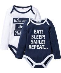 bpc bonprix collection Baby Langarmbody (2er- Pack) Bio-Baumwolle in blau für Herren von bonprix