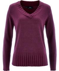 bpc bonprix collection V-Pullover langarm in lila (V-Ausschnitt) für Damen von bonprix
