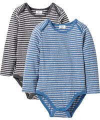 bpc bonprix collection Baby Langarmbody (2er-Pack) Bio-Baumwolle in grau von bonprix