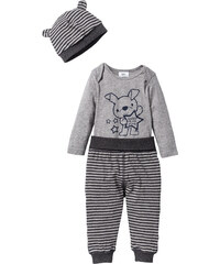 bpc bonprix collection Baby Langarmbody + Shirthose + Mütze (3-tlg. Set) Bio-Baumwolle in grau von bonprix