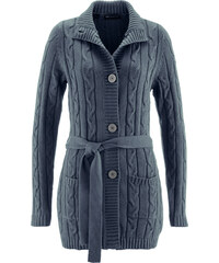 bpc selection Long-Strickjacke mit Zopfmuster langarm in grau für Damen von bonprix