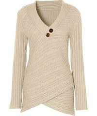 BODYFLIRT boutique Pullover langarm figurbetont in beige für Damen von bonprix