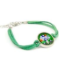 Murano Náramek se skleněným medailonkem v chromu - zelená - Murrina