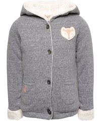 Šedomodrá holčičí mikina na knoflíky s kapucí Roxy