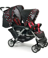 CHIC4BABY Geschwisterwagen mit herausnehmbarer Baby Tragetasche Duo dots CHIC4BABY schwarz