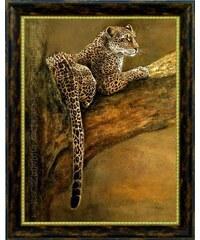 Wandbild Leopard auf Baumast 60/80 cm PREMIUM PICTURE braun