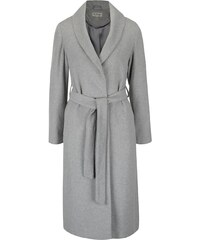 Světle šedý dlouhý kabát Miss Selfridge